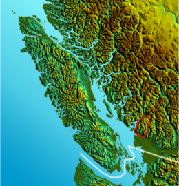 Relief map of North Shore Mountains location.png