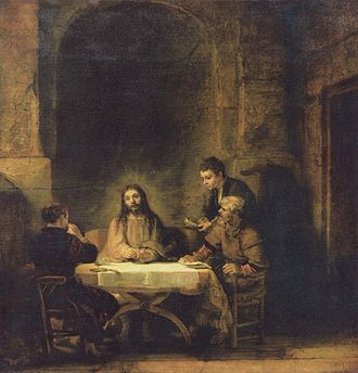 Road to Emmaus appearance - Christ at Emmaus by Rembrandt, 1648, Louvre.