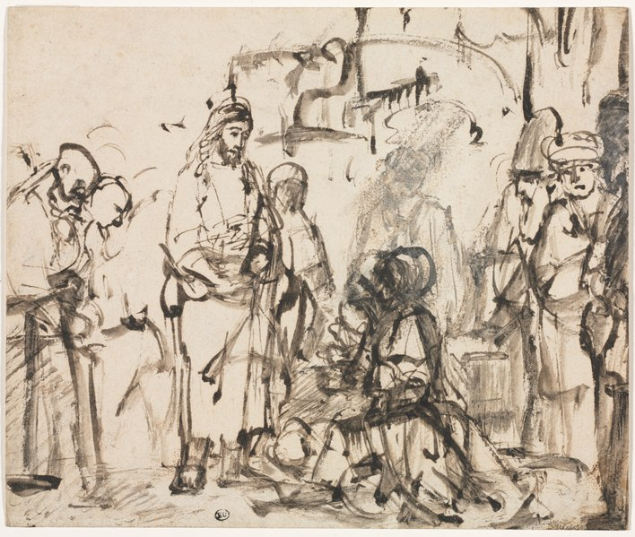 Rembrandt van Rijn - The Meeting of Christ with Martha and Mary after the Death of Lazarus - 1962.116 - Cleveland Museum of Art