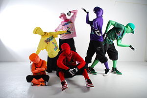 Zentai - Image: Remix Monkeys Dance Clan group pose