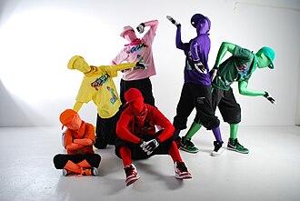 Zentai - Image: Remix Monkeys Dance Clan group pose
