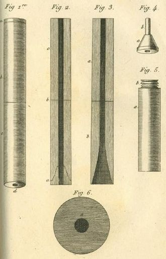 René Laennec - The first drawing of a stethoscope, 1819