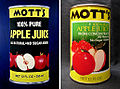 Rene Moncada Mott's apple juice art compared with redesigned label 1982.jpg