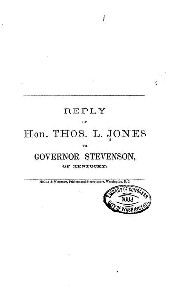 File:Reply of Hon. Thos L. Jones to Governor Stevenson of Kentucky.pdf