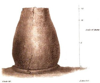 John Swete - 1796 watercolour by John Swete of a prehistoric urn discovered in a barrow on Haldon Hill in 1780