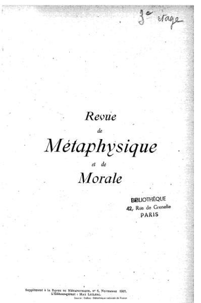 File:Revue de métaphysique et de morale, numéro 1, 1907.djvu