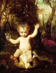 Oil painting representing Puck as a baby with pointed ears and curly blonde hair sitting on an enormous mushroom in a forest. He holds a small posy and grins mischievously.