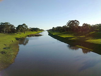 River Torrens - View west towards the Torrens outlet from the Davis Bridge,  Tapleys Hill Road
