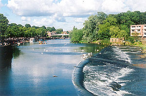 Handbridge - Chester Weir as seen from the Old Dee Bridge.