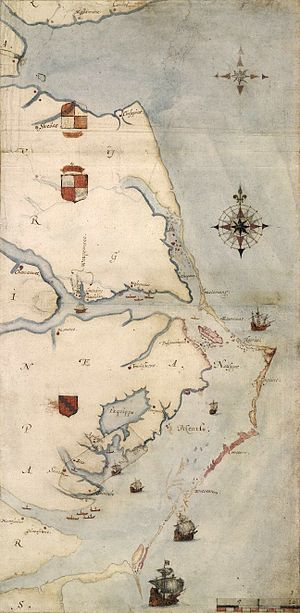 Roanoke Colony - Virginea Pars map, drawn by John White during his initial visit in 1585. Roanoke is the small pink island in the middle right of the map.