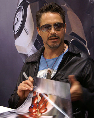 Robert Downey Jr. at Comic Con 2007, after being cast in Iron Man. Robert Downey Jr at Comic Con 2007.jpg