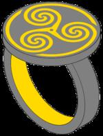 Vereinfachtes Modell des Ringes der O nach dem literarischen Vorbild mit der Triskele.