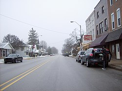 Westbound along Main Street in downtown Rossville