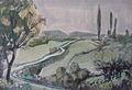 Rudolf Heinisch, Landschaftsskizze - Landschaft mit Pappeln, ca. 1955.JPG