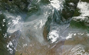 Smoke over western Russia on 4 August 2010