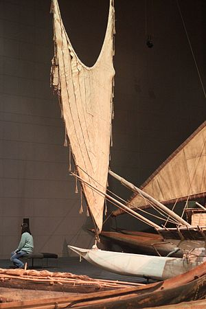 Crab claw sail - The crabclaw sail of the historic tepukei Maunga Nefe.