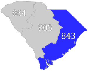 Area codes 843 and 854 - Image: SC Area code 843