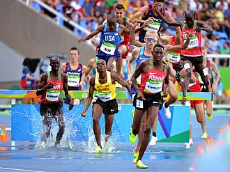 Athletics at the 2016 Summer Olympics - Conseslus Kipruto en route to the steeplechase title