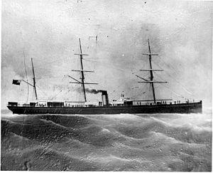 SS Parthia (1870) - An illustration of Cunard's SS Parthia under steam.