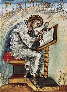 Matteo che scrive un vangelo, miniatura dei Vangeli di Ebbone, IX secolo.