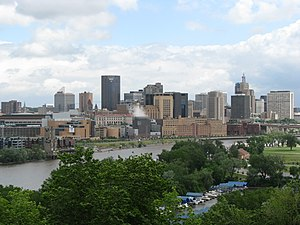 Saint Paul skyline, Lake of the Isles, West Side.jpg