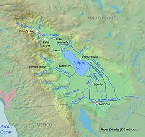 Salton Sink - The Salton Sink is part of the Salton Watershed (light green area).