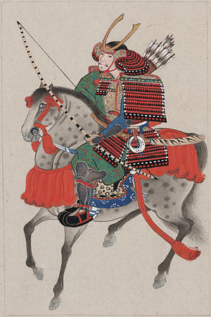 Japanese armour - A samurai on horseback wearing (ō-yoroi)