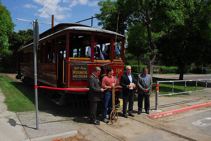 File:San Jose Historical Museum, restored trolley ribbon-cutting 2009.jpg
