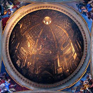 Illusionistic ceiling painting - The illustionistic perspective of Andrea Pozzo's trompe-l'oeil dome at Sant'Ignazio (1685) creates an illusion of an actual architectural space on what is, in actuality, a slightly concave painted surface.
