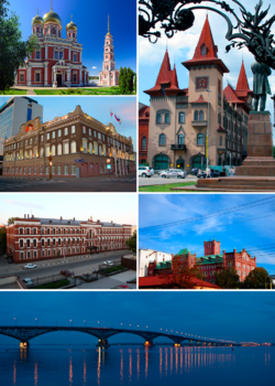 Top upper left: Pokrovskaya Church (Church of the Intercession of the Most Holy Theotokos) in Saratov, Top lower left: Saratov Administration Office, Top right: Saratov Conservatory, Middle left: Saratov Orthodox Theological Seminary, Middle right: Schmidt Mill, Bottom: A twilight view of Saratov Engels Bridge and Volga River