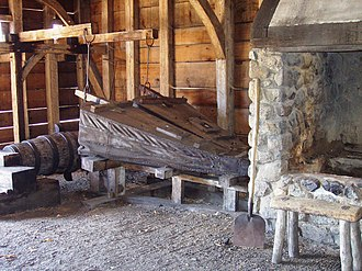 Saugus Iron Works National Historic Site - Image: Saugus Iron Mill forge with bellows
