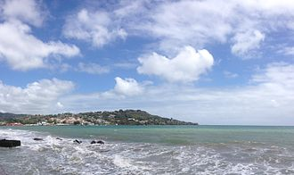 Scarborough, Tobago - Panoramic shot of Downtown Scarborough, Tobago