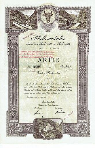 Furka Oberalp Railway - Share of the Schöllenenbahn, issued June 24, 1912
