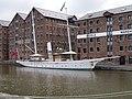 Screw Schooner Amazon and historic warehouses at Gloucester Docks.jpg