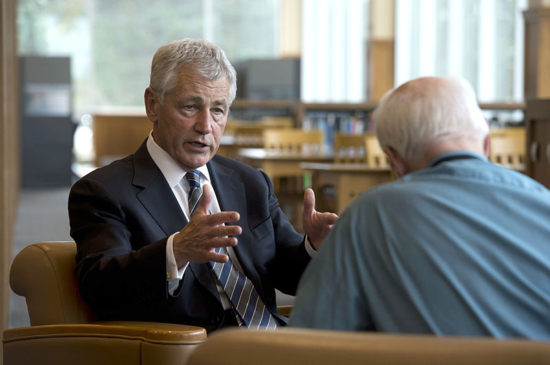 File:Secretary of Defense Chuck Hagel answers a question during an interview with Lincoln Star Journal reporter Don Walton at the University of Nebraska Omaha, Neb., on June 19, 2013 130619-D-BW835-406.jpg