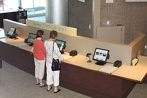 Fullerton Public Library - Image: Self check out machines