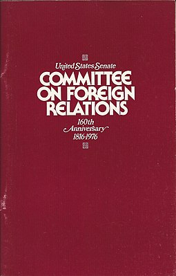 1976 publication of the Senate Foreign Relations Committee on the occasion of its 160th anniversary Senate Foreign Relations Committee 160th Anniversity cover.jpg
