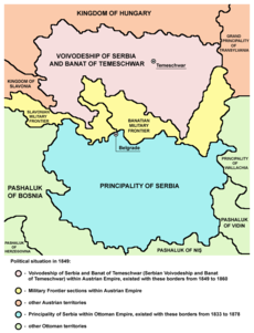 Voivodship of Serbia and Tamiš Banat and Principality of Serbia in 1849
