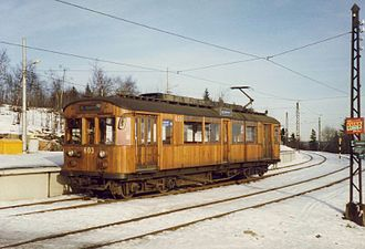Holmenkollen Line - HkB 600 tram during the early 1990s