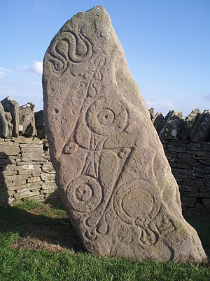 Picts - The Aberlemno Serpent Stone, Class I Pictish stone with Pictish symbols, showing (top to bottom) the serpent, the double disc and Z-rod and the mirror and comb