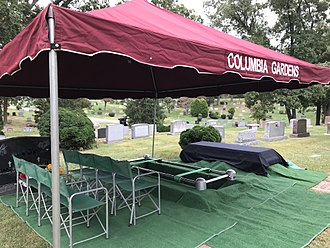 Columbia Gardens Cemetery - Example of a graveside service set-up