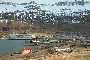 Seyðisfjörður - MS Norröna berthed at Seyðisfjörður harbour.
