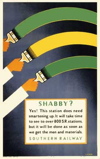 Southern Railway (UK) - 1945 poster ('Shabby?') by L. A. Webb promising post-war refurbishment on the Southern Railway, showing Malachite Green and Sunshine Yellow livery