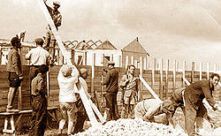 Building the stockade in 1938.