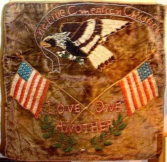 Oklahoma History Center - Image: Shawnee NAC altar cloth OHS