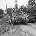 Sherman tank of 29th Armoured Brigade, 11th Armoured Division, in Normandy, 11 July 1944. B6980.jpg