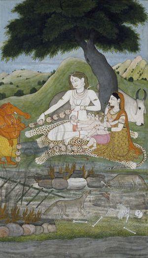 Mundamala - Shiva and his family stringing severed heads into a garland (mundamala), c. 1810