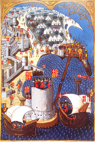 Flag and coat of arms of the Sovereign Military Order of Malta - Banners of the order at the Siege of Rhodes (1480), shown as gules a cross argent, and as counter-quarterly gules a cross argent and or a cross ancrée gules (c. 1483).