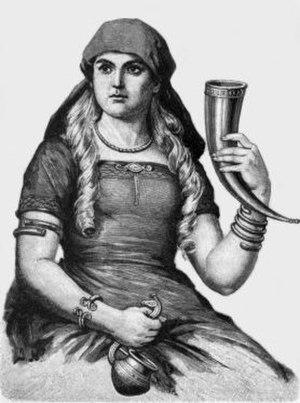 Borghild - Swedish goddess holding drinking horn