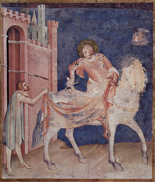 Malowidło z dolnego kościoła - Simone Martini, scena ze św. Marcinem z Tours